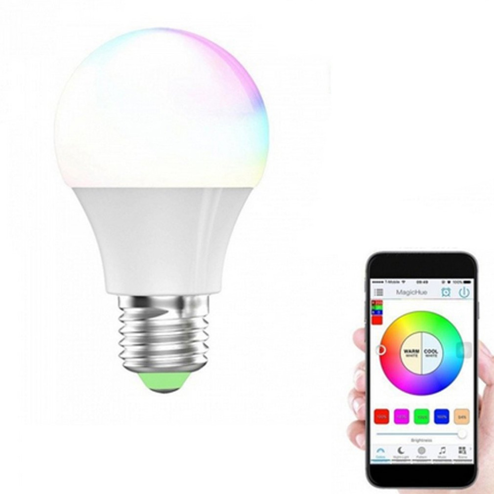 RGBW Smart LED Light Bulb Wifi Remote Control Lighting Lamp Color Change Dimmable LED Bulb for Android IOS Phone New smart dimmable mushroom led bulb household intelligent lighting rgb e27 600lm ac85 265v switchable for ios and android