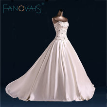 Strapless Beads Crystal Wedding Dress Ball Gowns Festido de Novia robe de maree Elegant Satin Bridal Gowns luxury
