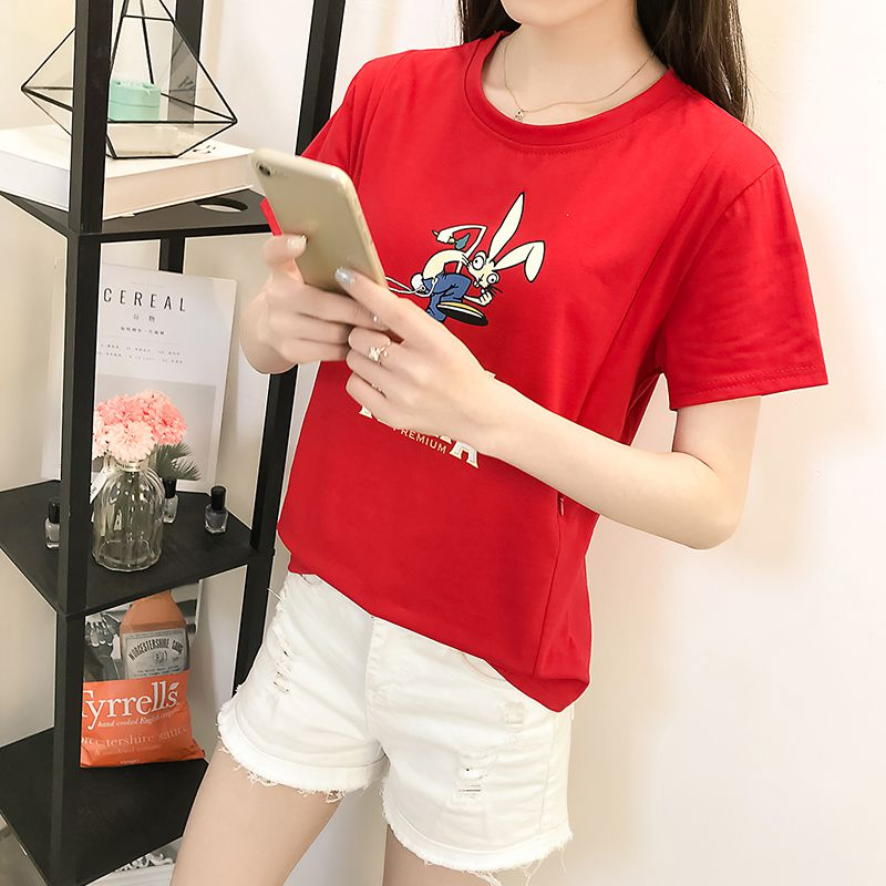 2018 fashion cartoon printing short-sleeved breast-milk clothing large size was thin cotton out of nursing clothes Pu milk T-shi