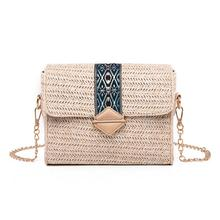 купить Women Hand Woven Straw Messenger Bag Fashion Simple Elegant Shoulder Crossbody Chain Bags Small Square Bag Summer Beach Handbag дешево