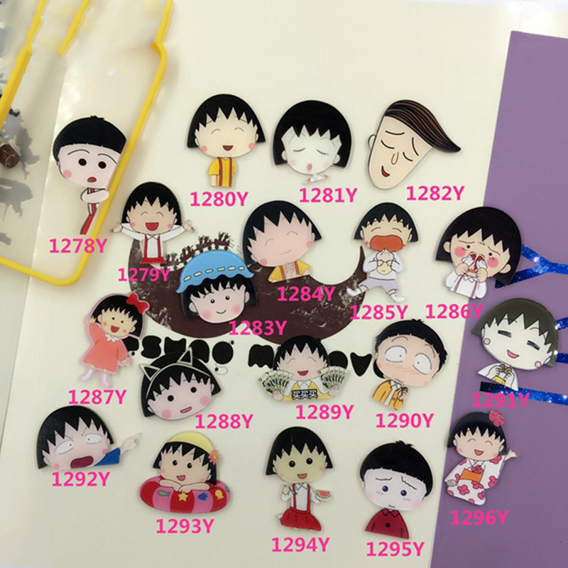 Kawaii Chibi Maruko Acrylic Brooch Children Clothes Badges For Women/Men Shoes Backpack Clothing Label Pins Jewelry Accessories