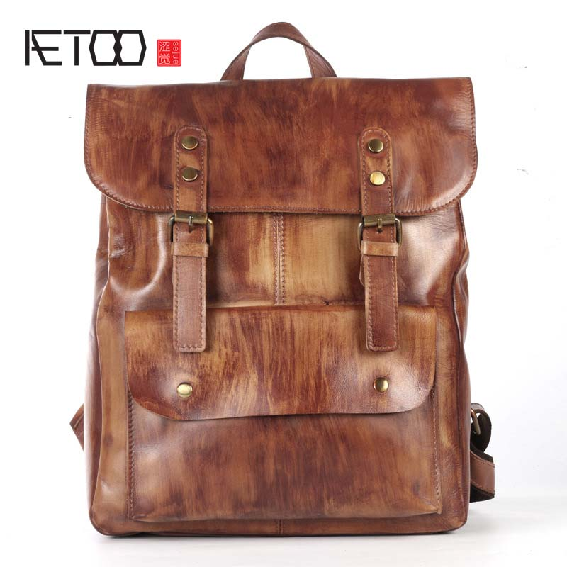 AETOO Original first layer leather backpack men cow leather shoulder bag retro backpack travel bag leisure large male bag aetoo retro shoulder bag genuine handmade men women casual travel backpack large capacity first layer leather