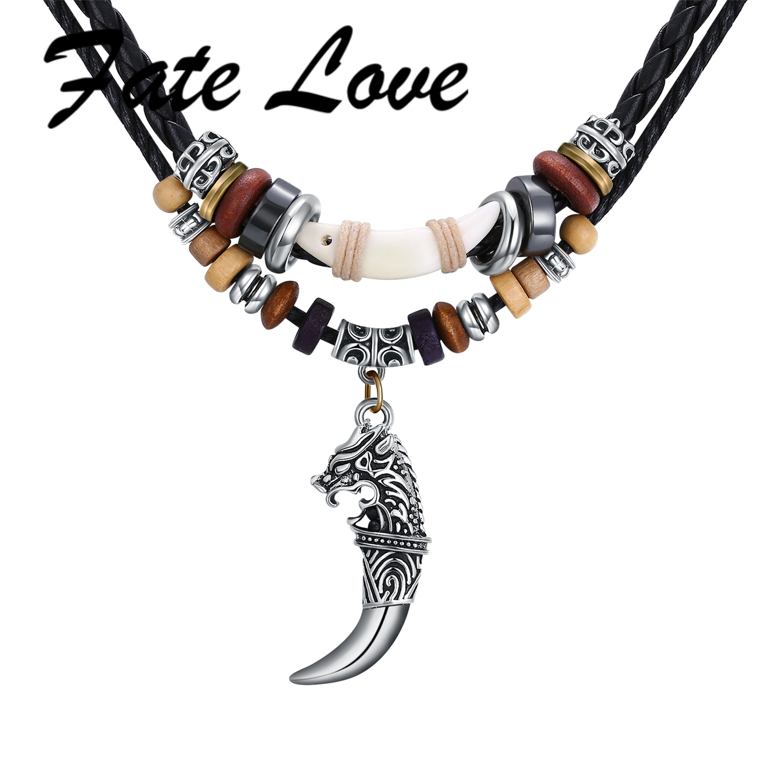 Men/'s Wolf Tooth Pendant Leather Beaded Weaved Prayer Necklace Jewelry