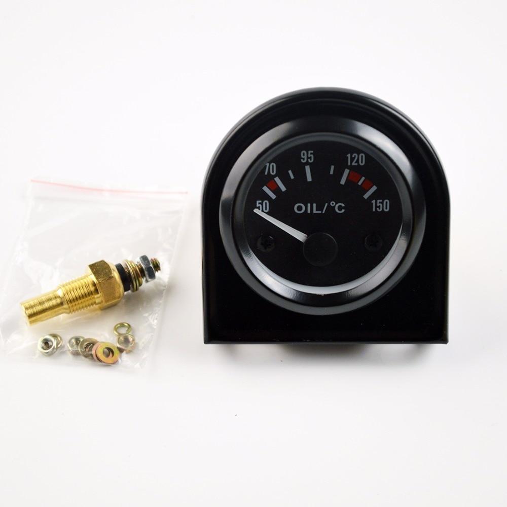"""DRAGON GAUGE Car Gauge 2"""" 52mm Oil Temp Gauge 50~150 Degree Temperature Black Rim Shell Meter for 12V"""