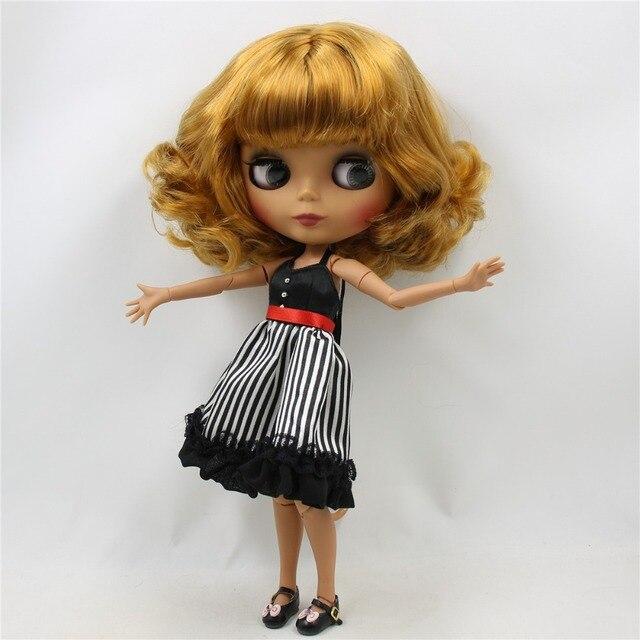 Neo Blythe Doll Short Golden Blonde Hair Jointed Body Tan Skin