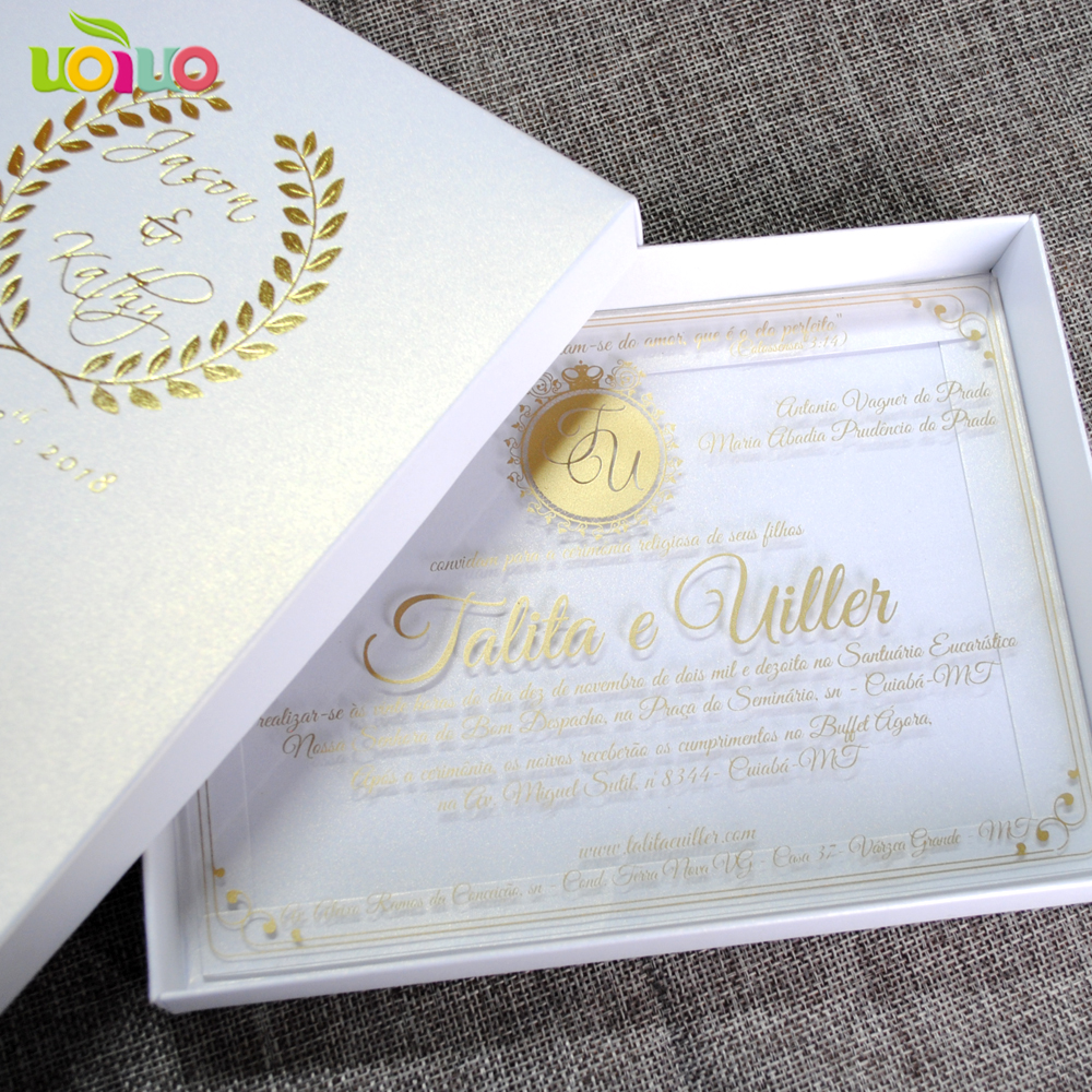 Cost Of Printing Wedding Invitations: 30pcs Elegant Hot Stamping Gold Words Printing Acrylic