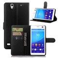 Carteira pu leather case para sony xperia c4 e5303/C4 Dual E5333 com Portadores de Cartão + Suporte Flip Função Phone Pouch saco