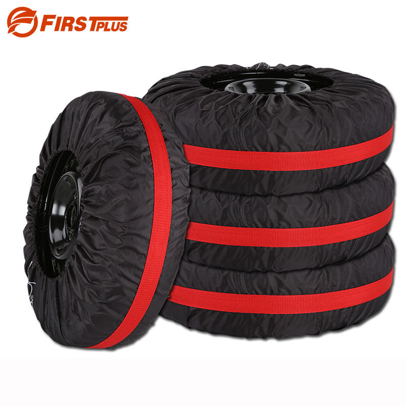 4 x Universal Car Tire Covers Thicken Water-repellent Auto Spare Tyre Protector Storage Bag For Summer and Winter 13-19 Inch