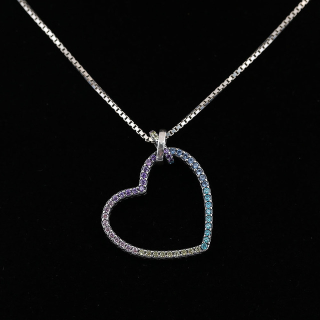 f7cfe75db 925 Sterling Silver Beads Shiny Multi-Colored Heart Charm Necklace Fit DIY Pendant  Necklace For Women 2018