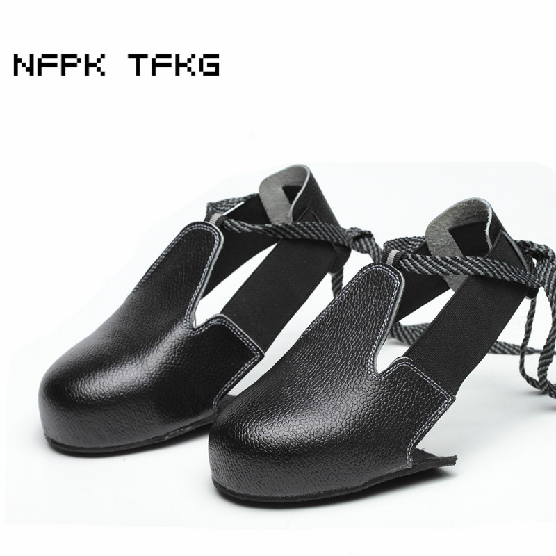 one size mens fashion steel toe covers working safety shoes soft leather interviewer visitor anti-smashing protective shoe black women and men anti slip anti hit safety shoe covers anti smashing steel toe cap covering protective overshoes