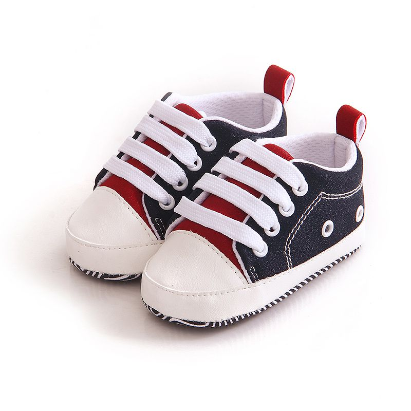 Autumn Casual Splice Sneakers Newborn Crib Toddler Boys Girls Lace-up Soft Sole Anti-skid Baby Shoes