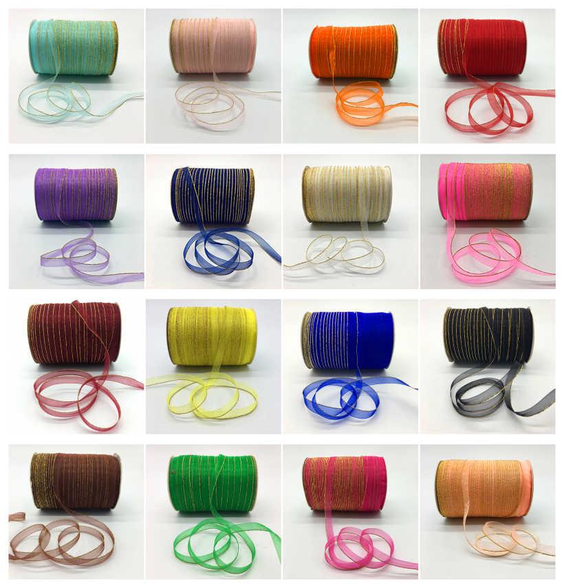 """10yds/lô 3/8 """"10mm Long Lanh Vàng Viền Organza Ribbon Bow Tóc Trang Trí Đám Cưới Ren Thủ Công Mỹ Nghệ Chọn Màu"""