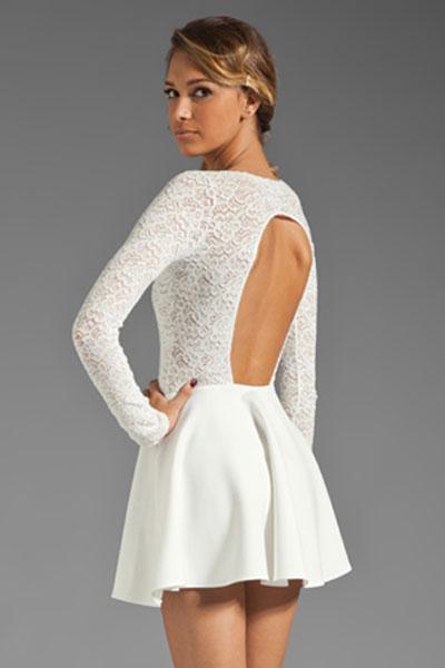 cfa00c2ab8 Fashion racerback long sleeve lace dress Avery White Cascading Princess for  Women long sleeve white open back lace skater dress-in Dresses from Women s  ...