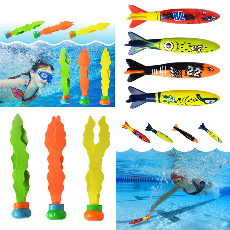 Shark Torpedo Rocket Throwing Toy Pool Game Toy Seaweed Grass Swimming Pool Summer Beach Sticks Toys For Children(China)