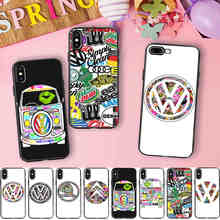 Minason Sticker Bomb VW SKODA Soft Silicone Phone Case for iPhone X 5 SE 5S XR XS Max 6 6S 7 8 Plus Volkswagen Golf Bus Cover(China)