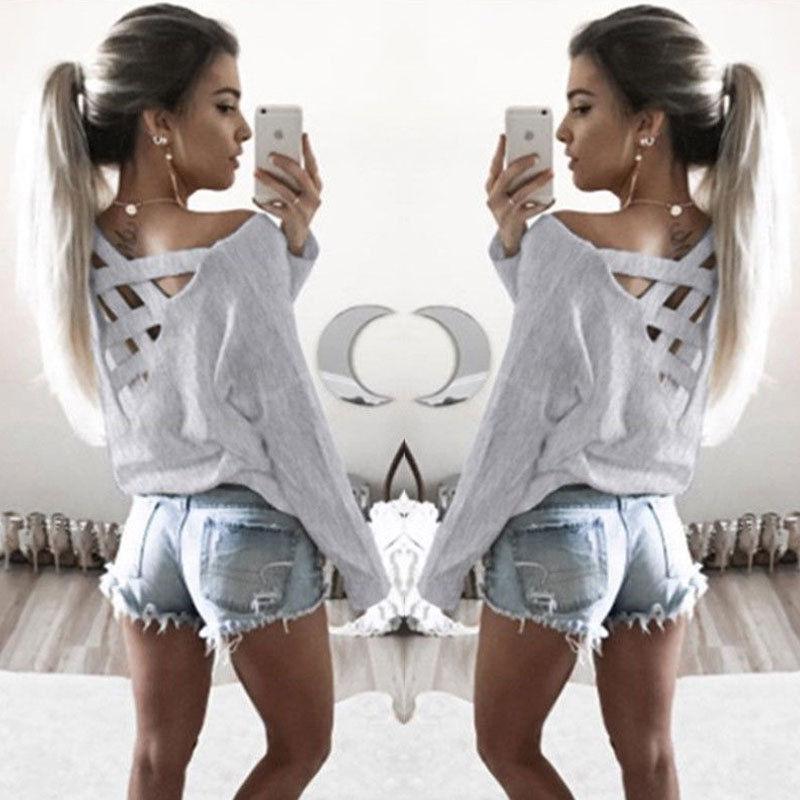 Fashion Tops Women V Neck T Shirt Loose Long Sleeve T-Shirt Cotton Casual Clothes Fashion Womens Shirts