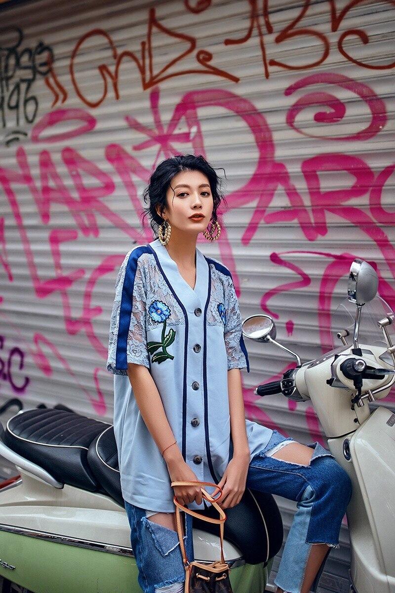 b629faa886b 2019 amp  Flores Grace Patchwork Azul Gloria Verano Instyle Primavera  Camisa Encaje Blusa Diseño De Original Bordado rwXrq1