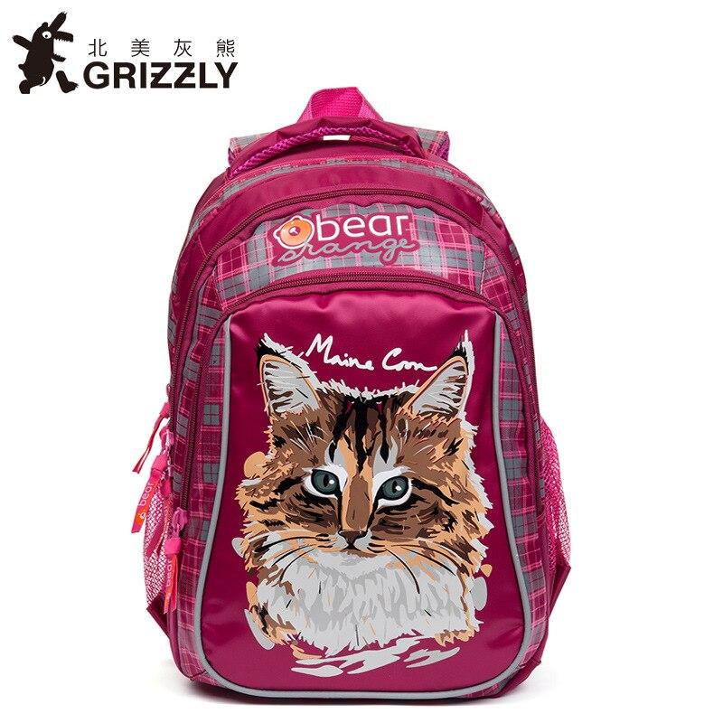 Children Backpack for Girls Cute Cartoon Cat School Bags Orthopedic Nylon Waterproof Primary Student Schoolbag for