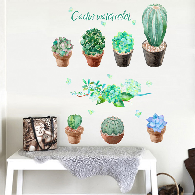 Plant, Window, Home, Vinyl, Potted, Decals
