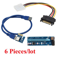 Wholesale 6pcs Lot PCI E PCI E 1x To 16x Mining Machine Enhanced Extender Riser Card