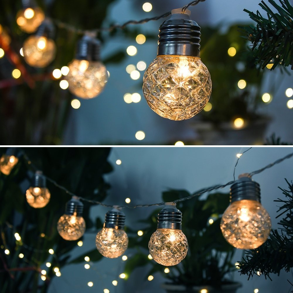 Binval Globe Pineapple String Lights USB Battery LED Solar Bulb Led Lamp For Garden Patio Holiday Home Wedding Xmas Party