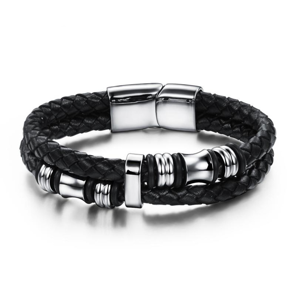 Genuine Leather Rope Bracelet Stainless Steel Punk Style Cool Men Leather  Woven Bracelet Magnetic Buckle Man Accessories