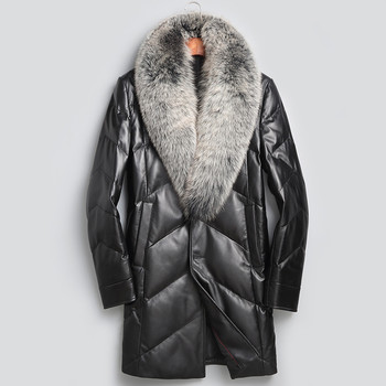YOLANFAIRY Geniune Leather Jacket Men Sheepskin Leather Duck Down Coat With Real Fox Fur Collar Winter Warm Thick Outwear MF391