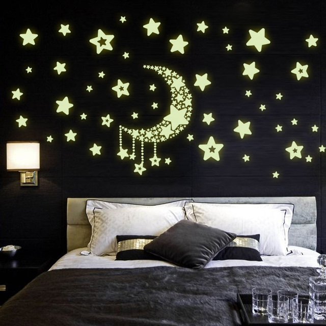 Wall Stickers Home Decor Stars Moon Night Sky Noctilucence Glow In The Dark For Kids Rooms