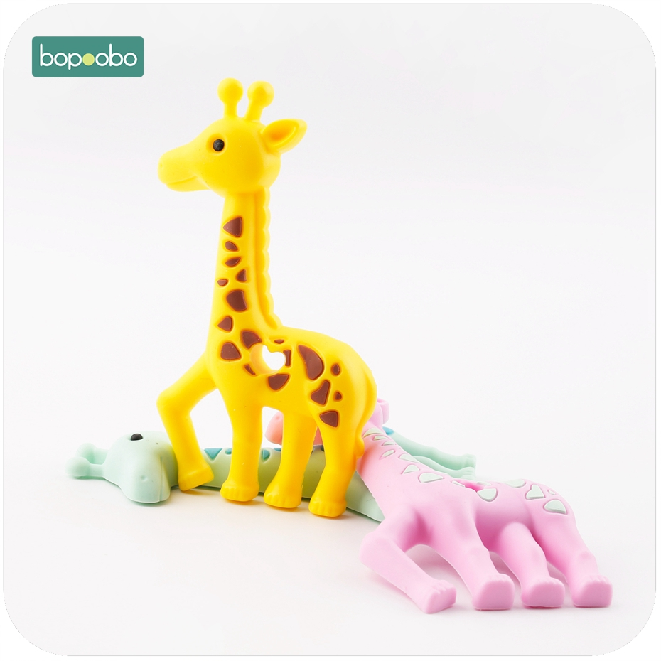 Bopoobo Giraffe Cute Animal Silicone Baby Teether Food Grade Materials BPA Free 2pc Silicone Can Chew Baby Toy DIY Pendant dog animal series many chew toy