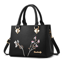 Fashion Design Flower Emboridery Leather Handbags Simple National Style Crossbody Shoulder Bags women Tote Bags Messenger Bag цена