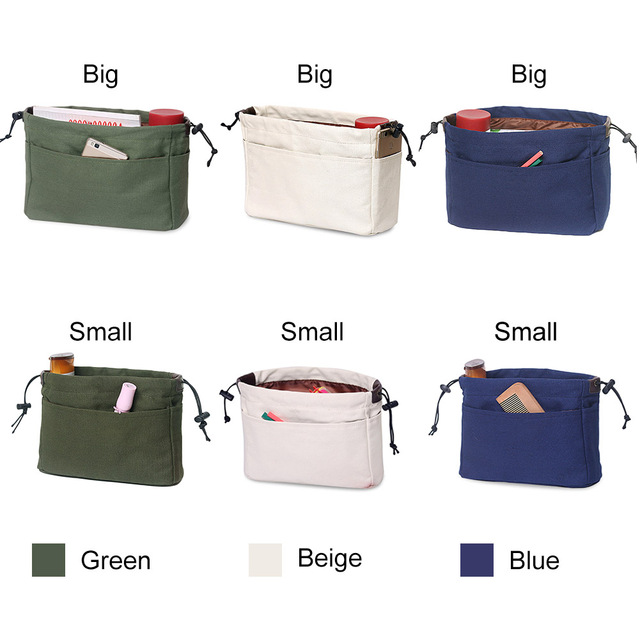 803294a5a3 Canvas Purse Organizer Bag Organizer Insert with Compartments Makeup Travel  Storage Handbag Best Sale-WT