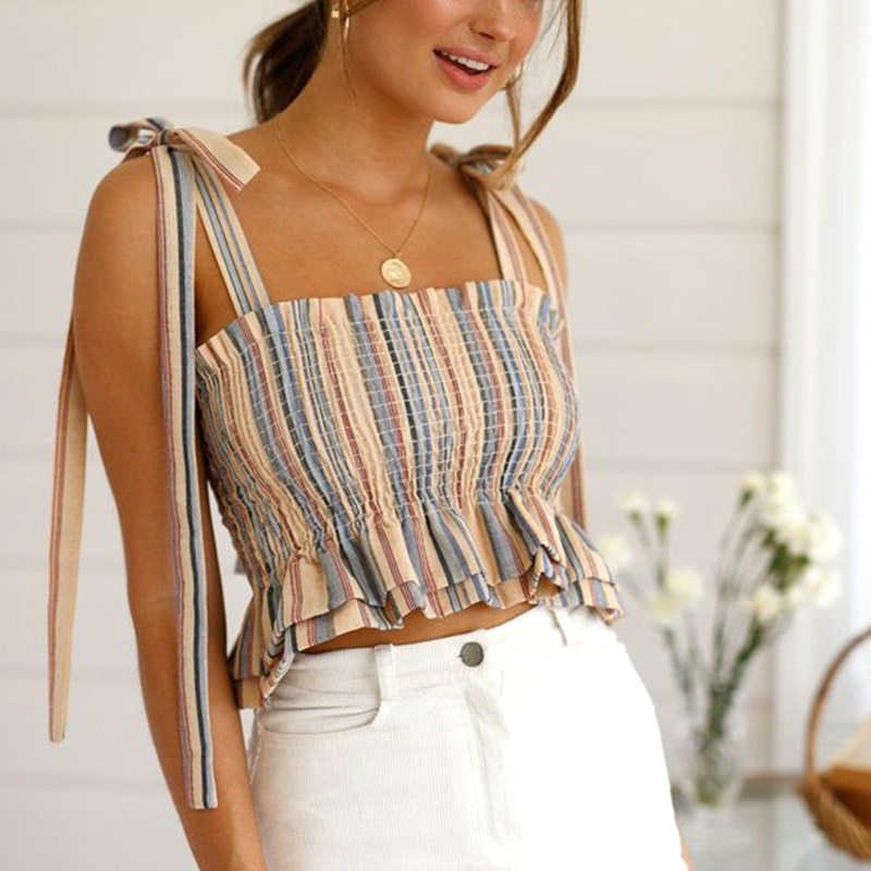 Women Crop Tube Tops Strappy Sleeveless Backless Striped Slim Fit Short Tops for Summer TS95