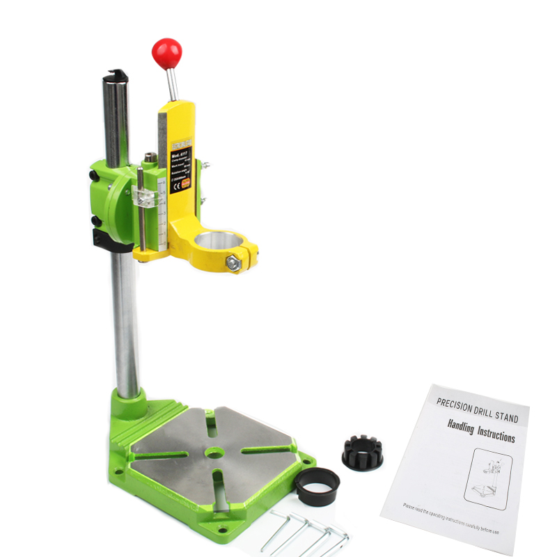 Electric Power Drill Press Stand Table For Drills Workbench Clamp For Drilling Collet 35 43mm 0 90 Degrees Green Yellow