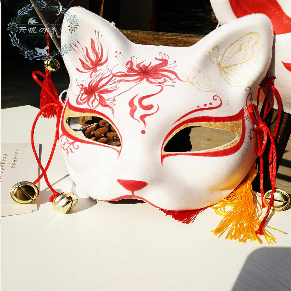 New Japanese Private Fox Mask Hand-painted Cat Natsume's Book of Friends Pulp Fox Half Face Mask Halloween Cosplay Animal Masks