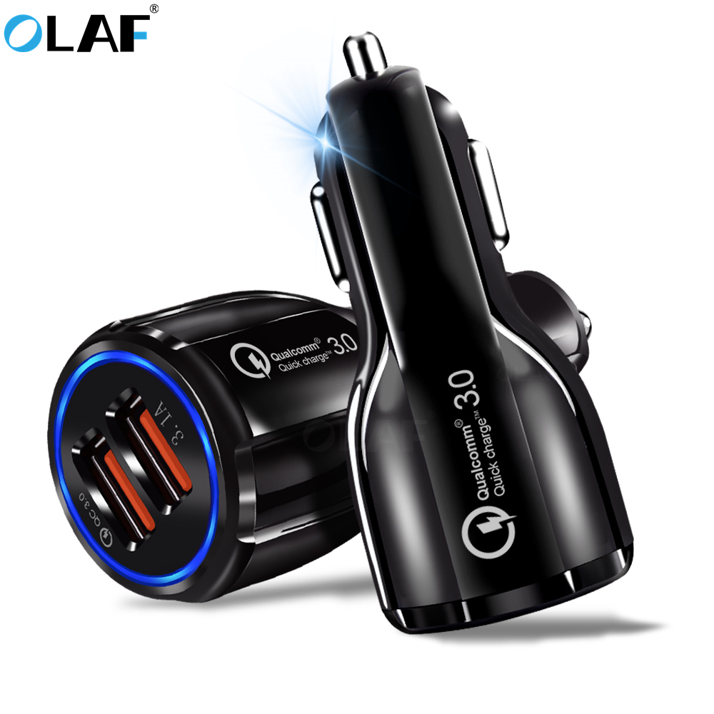 OLAF Car Charger Dual USB Ports 5V 3.1A Car-Charger Quick Charge 3.0 Mobile Phone USB Charger For iPhone Samsung Xiaomi Huawei