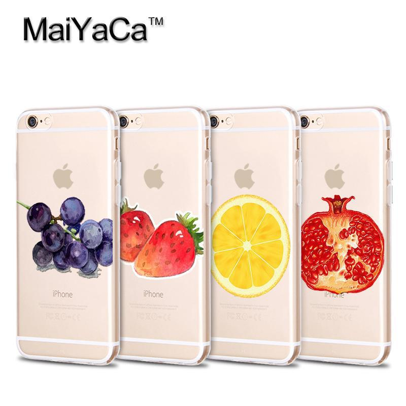 MaiYaCa Fruites Orange Strawberry Ananas Soft Transparentní TPU Pouzdro na telefon Příslušenství pro iPhone 4s 5s 6s 7 plus pouzdro