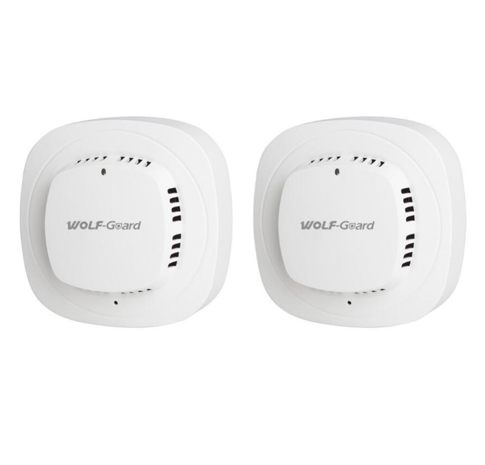 2 x Wolf-Guard Wireless Smoke Detector Photoelectric Sensor Fire Alarm for Home Fire Smoke Security System Alarm YG-07A цены