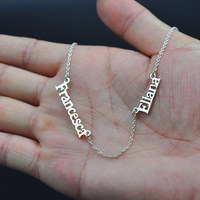 Personalized Jewelry Stainless Steel Custom Any Double Name Necklaces Pendants Gold Silver Bijoux Femme Collares Bridesmaid