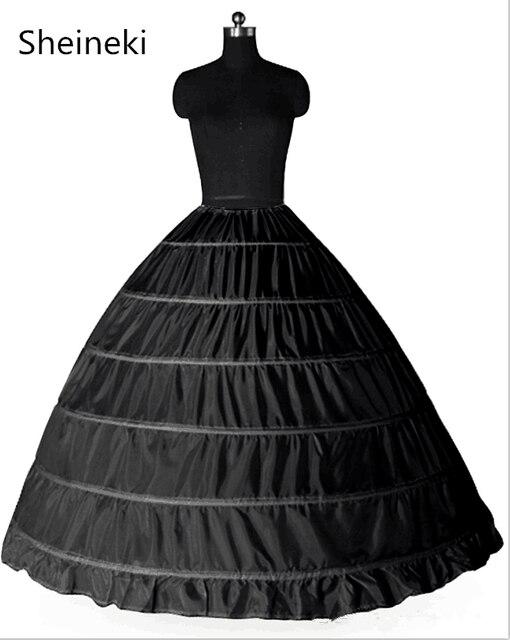 enaguas novia White Black 6 Hoops Petticoat Crinoline Slip Underskirt Ball Gown Wedding Dress anagua de vestido de noiva jupon