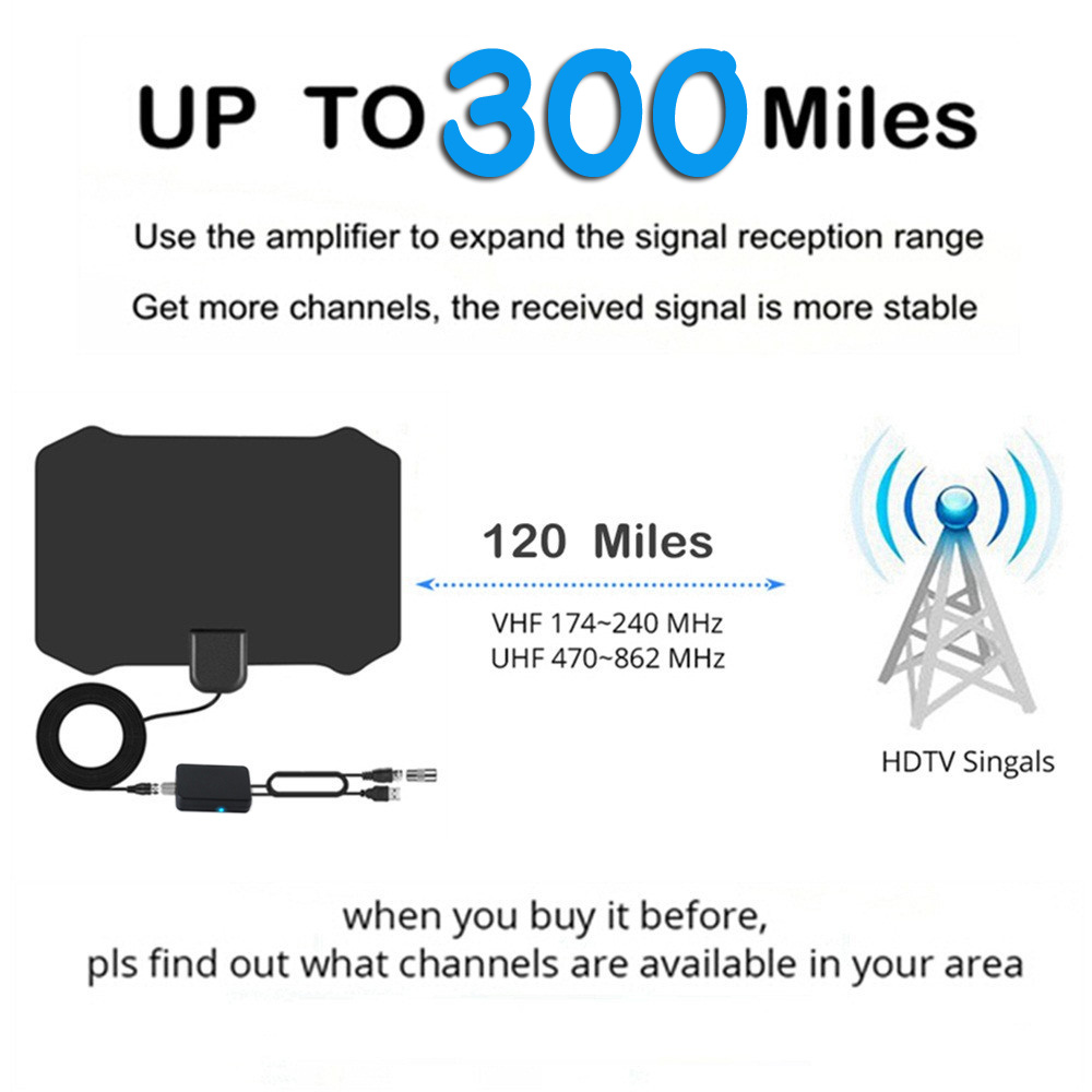 Indoor TV Antenna 200 Miles Freeview 25DB Digital HDTV Antenna with Amplifier Signal Booster Antennas DVB T2 TV Aerial High Gain in TV Antenna from Consumer Electronics