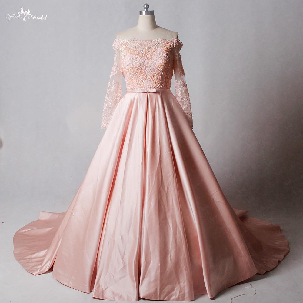 Rsw1245 fuera del hombro mangas largas satén falda Rosa Vestidos de ...