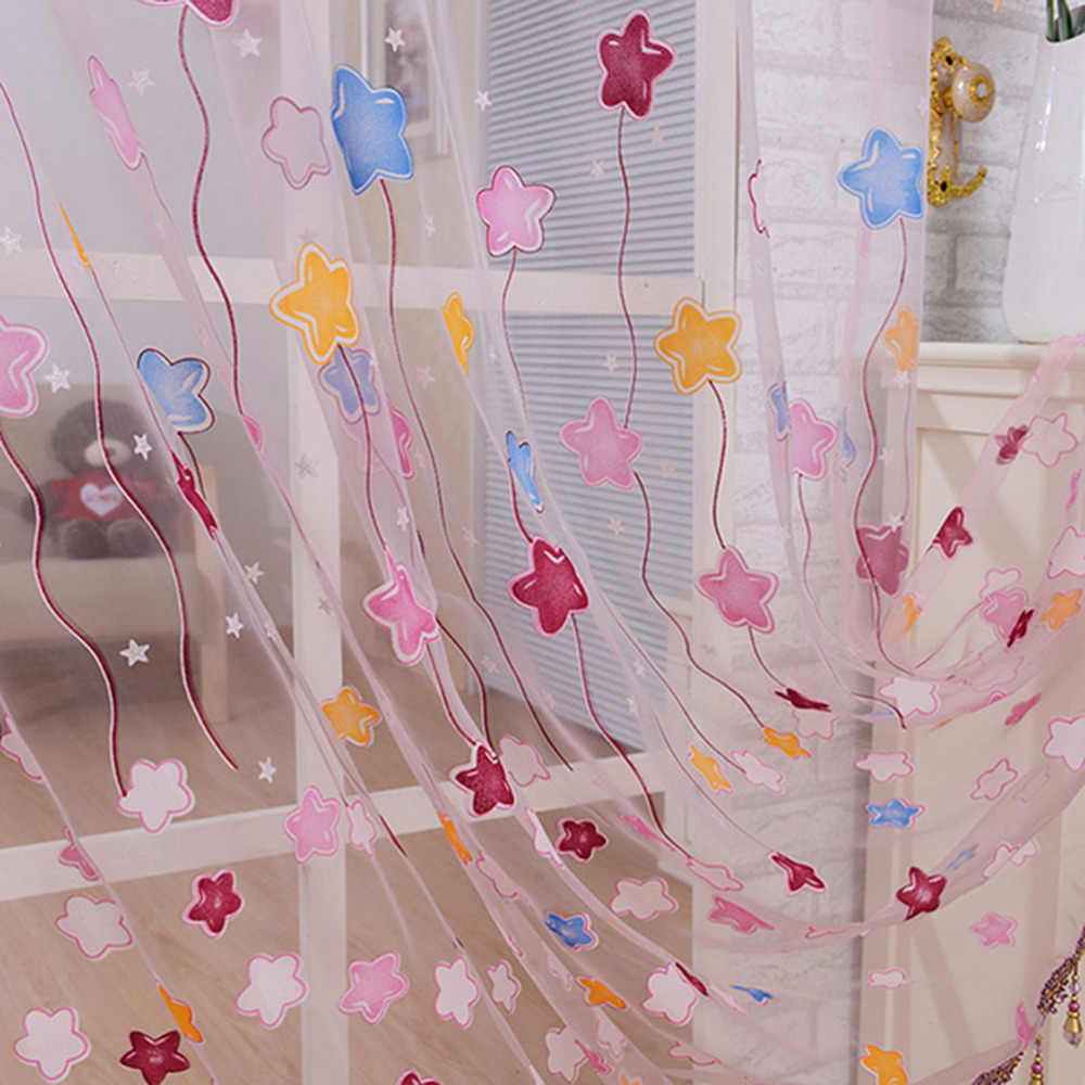 Children bedroom living room kitchen Home TextileLovely Cartoon Star Print Window Curtains Tulle Voile Sheer Curtains for Kids
