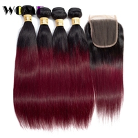 Wome Ombre Bundles With Closure T1B/99J Brazilian Straight Human Hair 4 PCS With 4*4 Lace Closure Baby Hair Natural Line