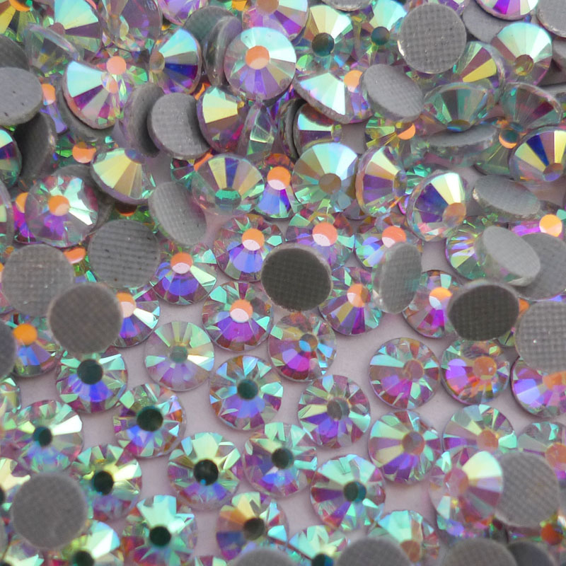 Crystal AB SS6 SS40 DMC HotFix Rhinestones Flatback Glass Iron on Stones  For Clothing garment shoes bags nail jeans Decorations-in Rhinestones from  Home ... 969f43e5566e