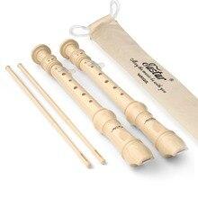 ABS сопрано рекордер в немецком стиле барокко Ключ C Fingering recorder s 8 отверстий длинная флейта инструмент с сумкой инструмент для очистки