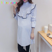 Spring Autumn Maternity Clothes Fashion Stripe Plus Size Pregnancy Long Cotton Shirt Blouse Loose Tops Pregnant Clothing BC1758