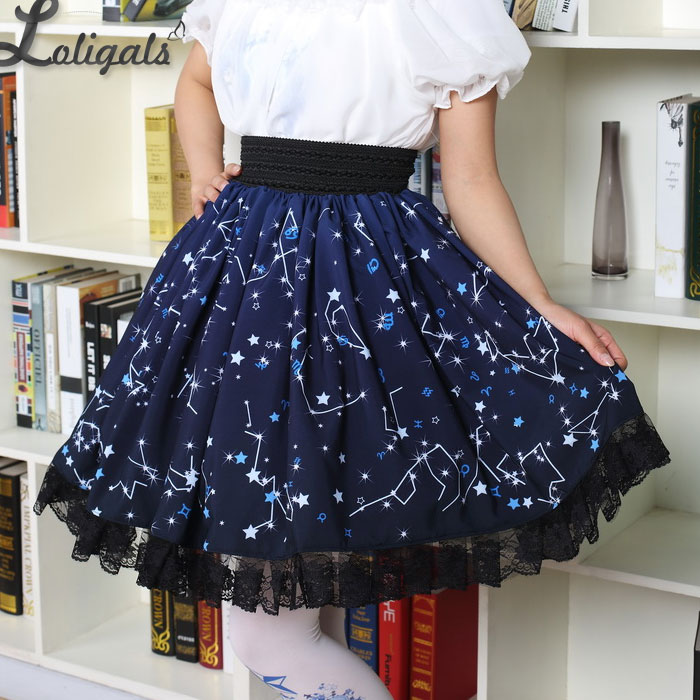 Kawaii Mori Girl Short Kjol Söt Navy Blue Starry Night Skrivad Skater Kjol för Kvinnor