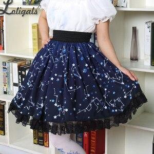 Image 1 - Kawaii Mori Girl Short Skirt Sweet Navy Blue Starry Night Printed Skater Skirt for Women