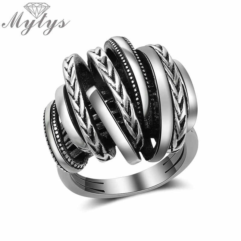 Mytys Thai Silver Antique Ring for Women Retro Design Geometric Cross Stament Punk Ring Party Fashion Accessory R2028