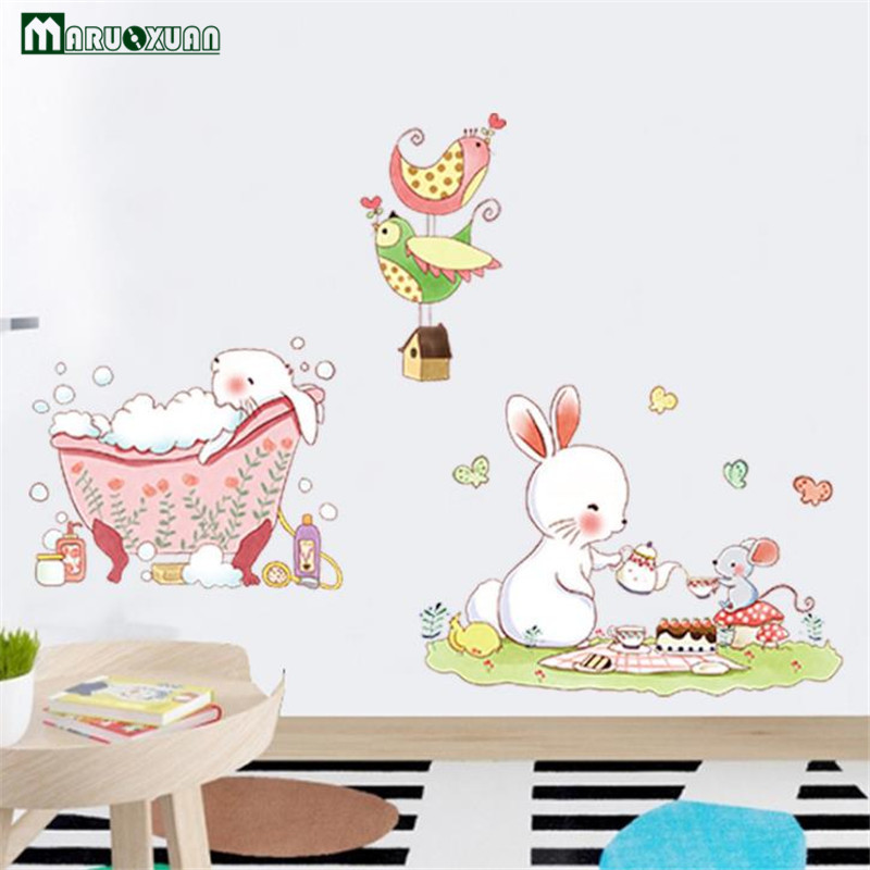 Maruoxuan New Cartoon Cute Rabbit Bath Sticker Paper Childrens Room Baby Bedroom Kindergarten Decorative Stickers Wallpaper ...